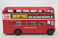 Corgi Classics 469; AEC Routemaster Bus; London Transport; Rt 25, High Holborn, Bank, Oxford Circus, Bond St; Beatties Advertising