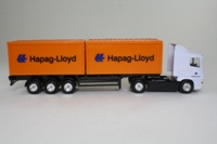 Corgi Classics TY86620; Scania R Cab, 1:64 Scale; Artic Skeletal Trailer & Containers, Hapag Lloyd