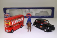 Corgi 60003; London 3 Piece Gift Set; Routemaster Bus, London Taxi & Mounted Policeman