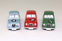 Vanguards AU1003; Austin A35 3 Car Set; Mushy Pea, Powerful Peanut, Red Rocket