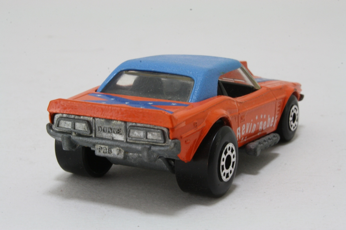 2018 Dodge Rebel >> Matchbox/Lesney 1g; Dodge Challenger; Revin Rebel; Orange/Blue, Confederate Flag 16123